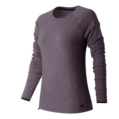 Womens New Balance Sport Style Shirt Long Sleeve Technical Tops - Feather Heather M