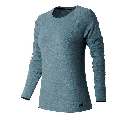 Womens New Balance Sport Style Shirt Long Sleeve Technical Tops - Riptide Heather XS