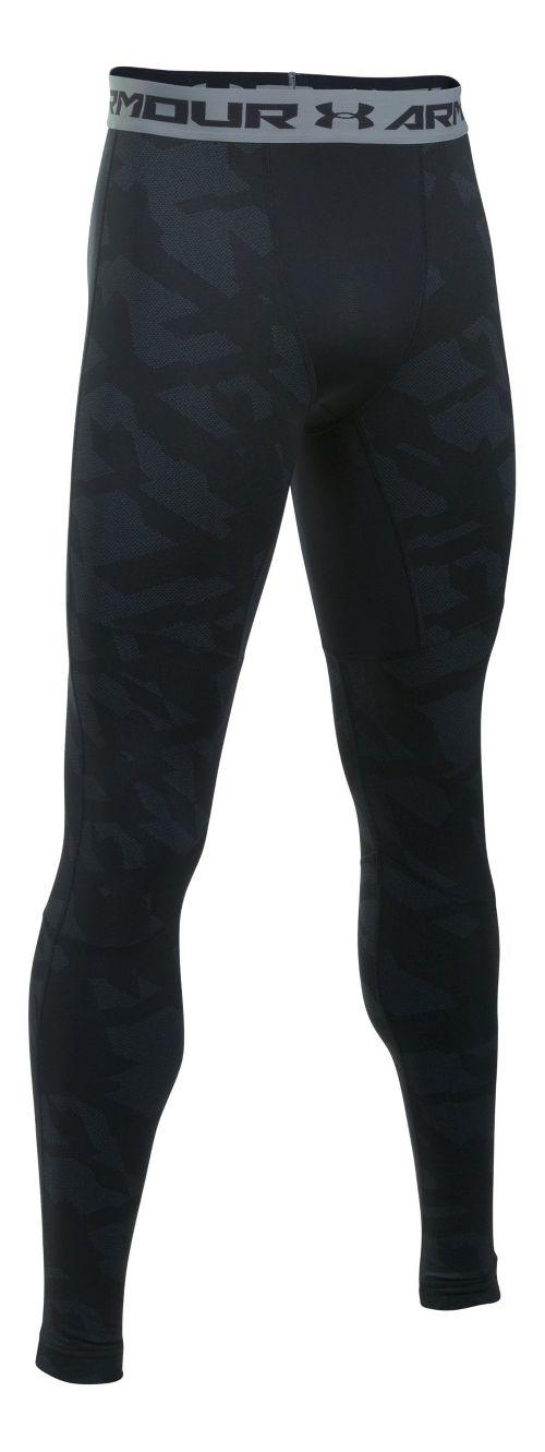 Mens Under Armour ColdGear Armour Jacquard Tights & Leggings Pants - Black/Steel L