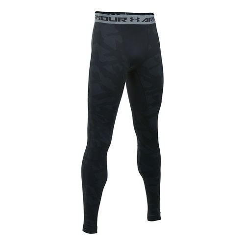 Mens Under Armour ColdGear Armour Jacquard Tights & Leggings Pants - Black/Steel XXL