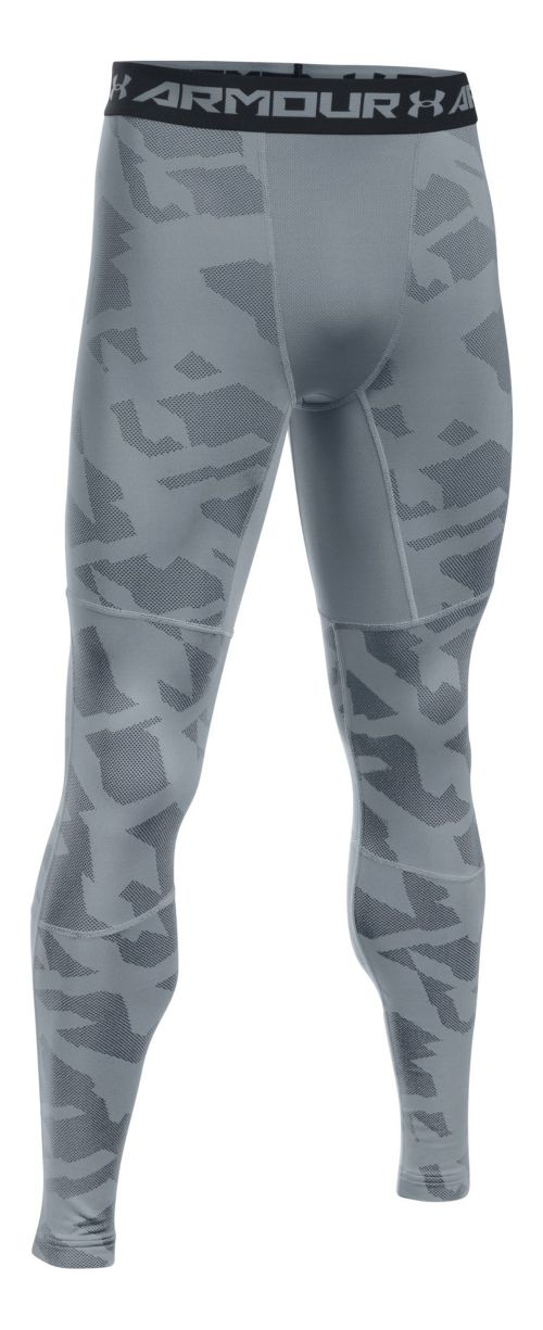 Mens Under Armour ColdGear Armour Jacquard Tights & Leggings Pants - Steel/Black S