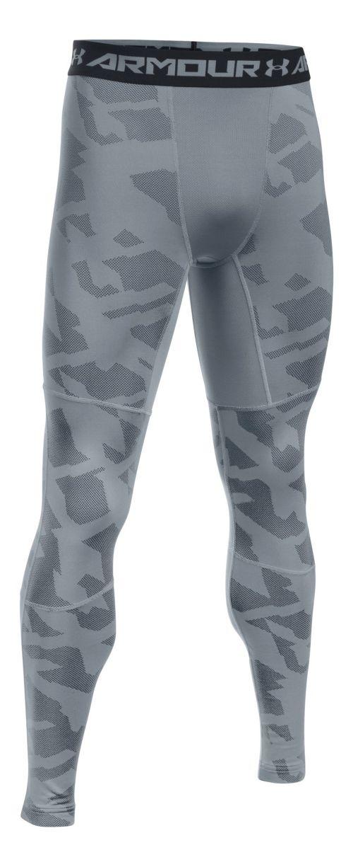 Mens Under Armour ColdGear Armour Jacquard Tights & Leggings Pants - Steel/Black XXL