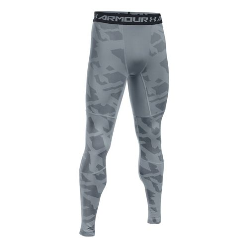 Mens Under Armour ColdGear Armour Jacquard Tights & Leggings Pants - Steel/Black L