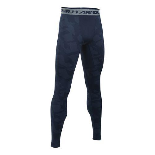 Mens Under Armour ColdGear Armour Jacquard Tights & Leggings Pants - Midnight Navy/Steel L