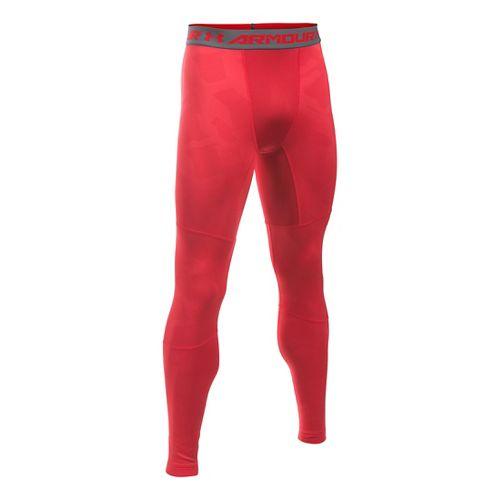 Mens Under Armour ColdGear Armour Jacquard Tights & Leggings Pants - Red/Graphite XL