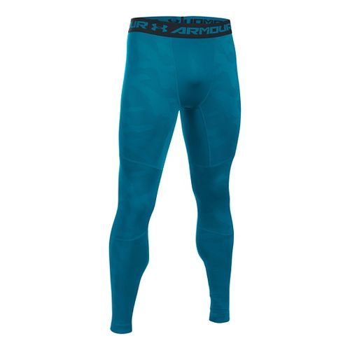 Mens Under Armour ColdGear Armour Jacquard Tights & Leggings Pants - Peacock/Black L