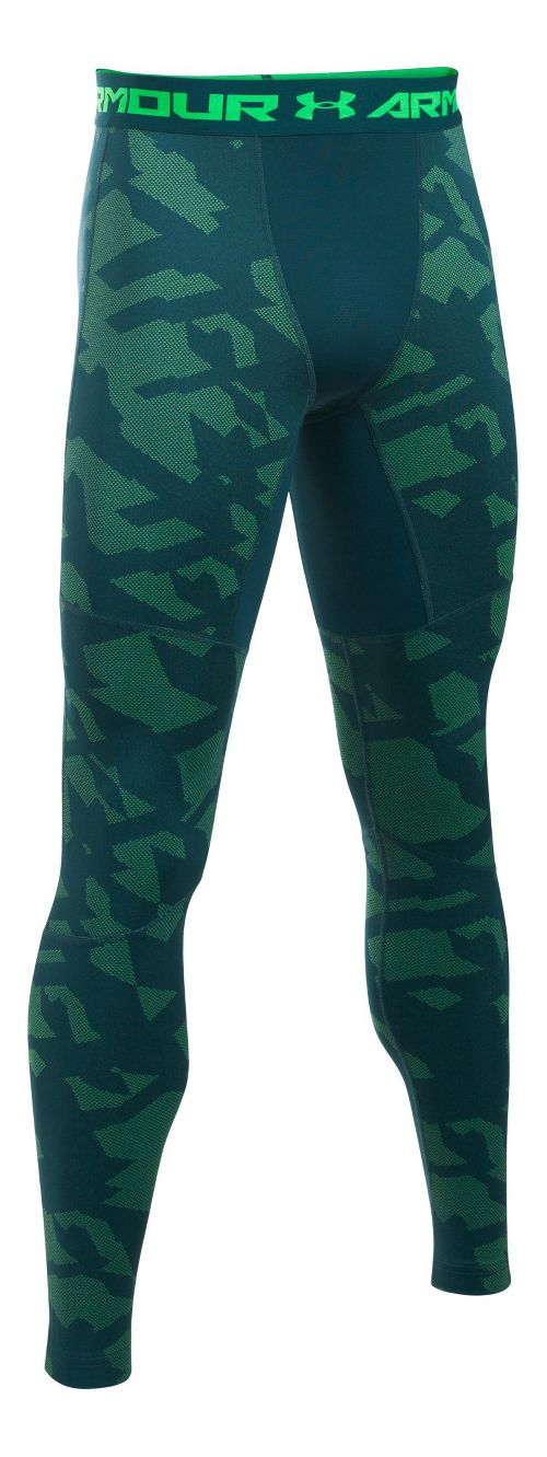 Mens Under Armour ColdGear Armour Jacquard Tights & Leggings Pants - Nova Teal/Black 3XL