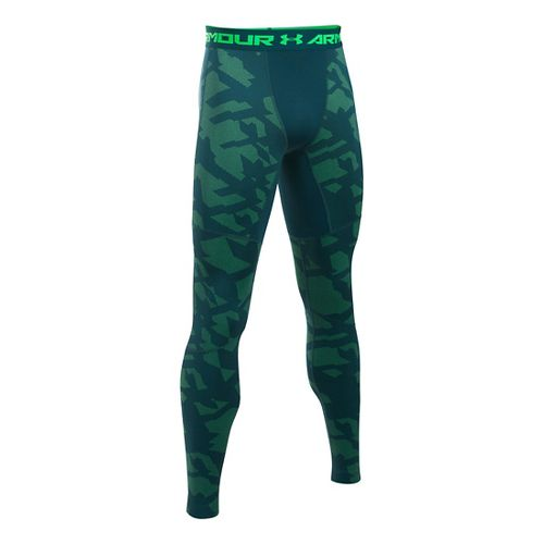 Mens Under Armour ColdGear Armour Jacquard Tights & Leggings Pants - Nova Teal/Black M