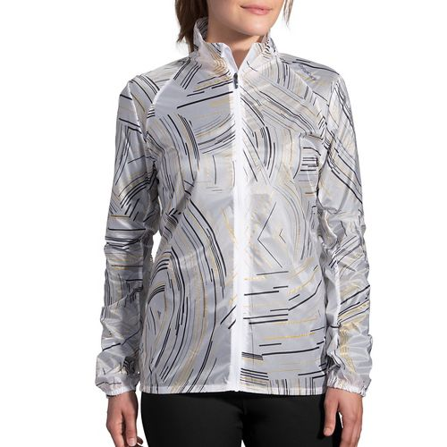 Womens Brooks LSD Printed Running Jackets - White Cosmo XS