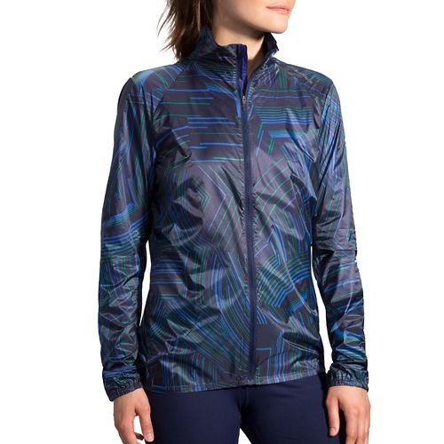 Womens Brooks LSD Printed Running Jackets - Navy Cosmo S