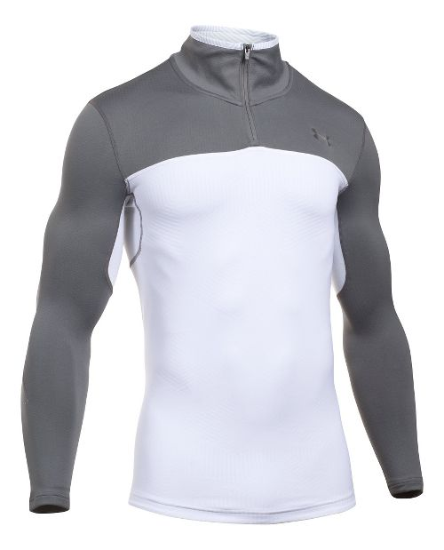 Mens Under Armour ColdGear Armour Elements 1/4 Zip Long Sleeve Technical Tops - White/Graphite XXL