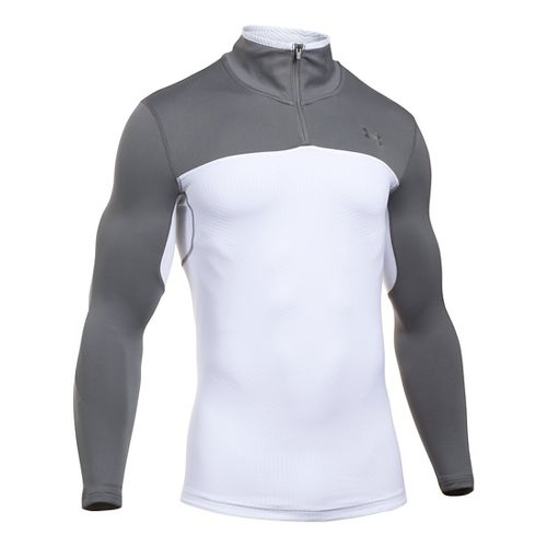 Mens Under Armour ColdGear Armour Elements 1/4 Zip Long Sleeve Technical Tops - White/Graphite ...