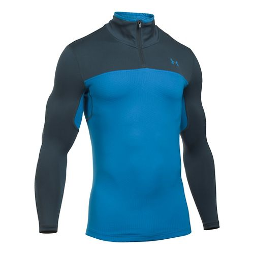 Mens Under Armour ColdGear Armour Elements 1/4 Zip Long Sleeve Technical Tops - Brilliant ...
