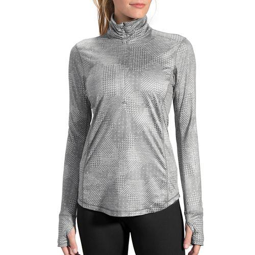 Womens Brooks Dash 1/2 Zip Long Sleeve Technical Tops - Heather Oxford XL