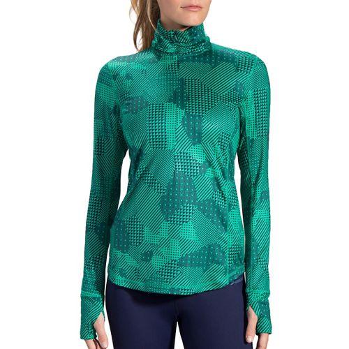 Womens Brooks Dash 1/2 Zip Long Sleeve Technical Tops - Parquet Mosaic S