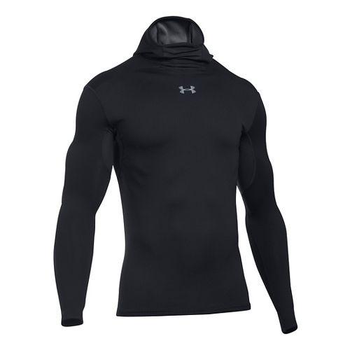 Mens Under Armour ColdGear Armour Elements Hoodie & Sweatshirts Technical Tops - Black/Black XL