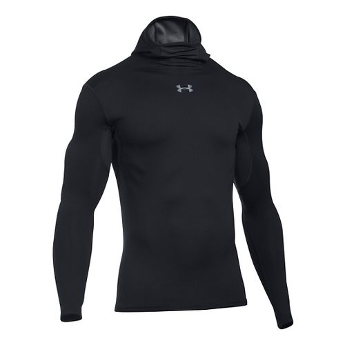 Mens Under Armour ColdGear Armour Elements Hoodie & Sweatshirts Technical Tops - Black/Black XXL