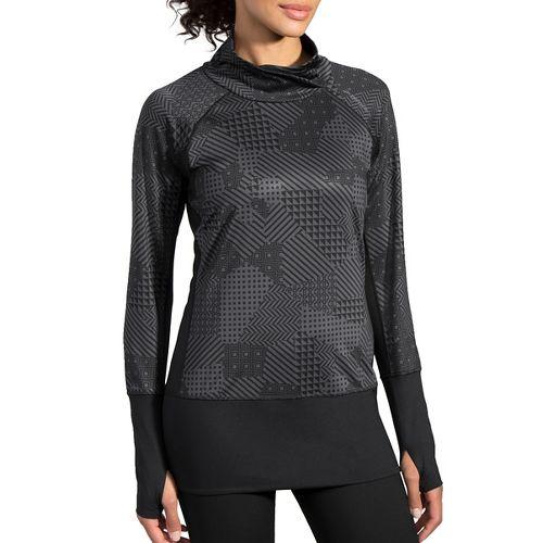Womens Brooks Threshold Long Sleeve Technical Tops - Asphalt Mosaic L
