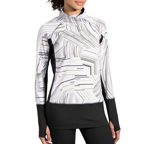 Womens Brooks Threshold Long Sleeve Technical Tops - White Cosmo/Black L