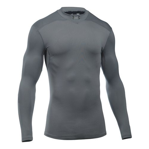 Mens Under Armour ColdGear Elements Mock Long Sleeve Technical Tops - White/White L