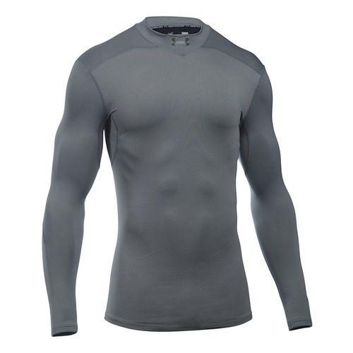 Mens Under Armour ColdGear Armour Elements Mock Long Sleeve Technical Tops - Black/Black 3XL