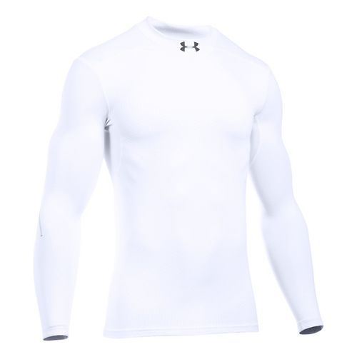 Mens Under Armour ColdGear Armour Elements Mock Long Sleeve Technical Tops - White/White XXL