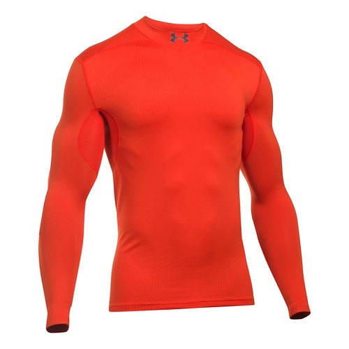 Mens Under Armour ColdGear Armour Elements Mock Long Sleeve Technical Tops - Dark Orange M ...