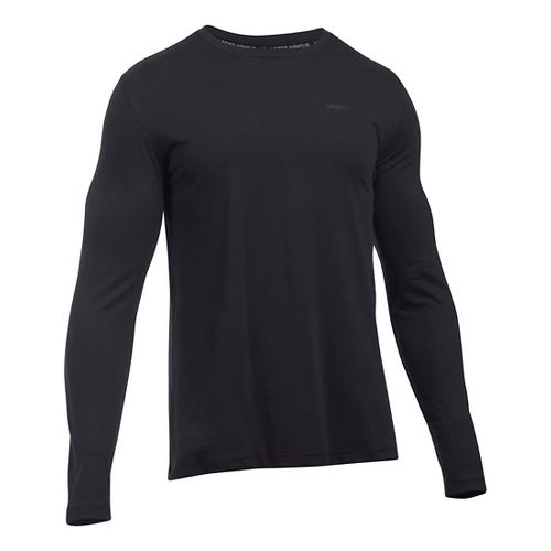 Mens Under Armour Charged Cotton Tee Long Sleeve Technical Tops - Black/Steel M