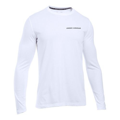 Mens Under Armour Charged Cotton Tee Long Sleeve Technical Tops - White/Graphite XL