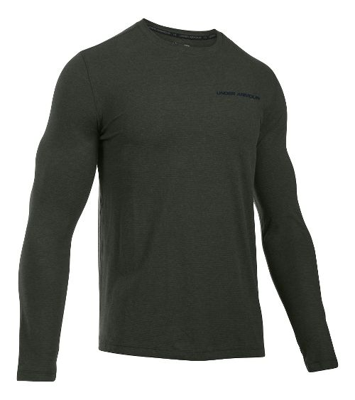 Mens Under Armour Charged Cotton Tee Long Sleeve Technical Tops - Army Green/Black L
