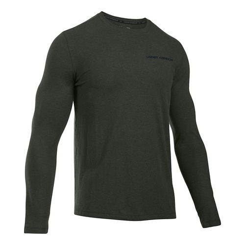 Mens Under Armour Charged Cotton Tee Long Sleeve Technical Tops - Army Green/Black M