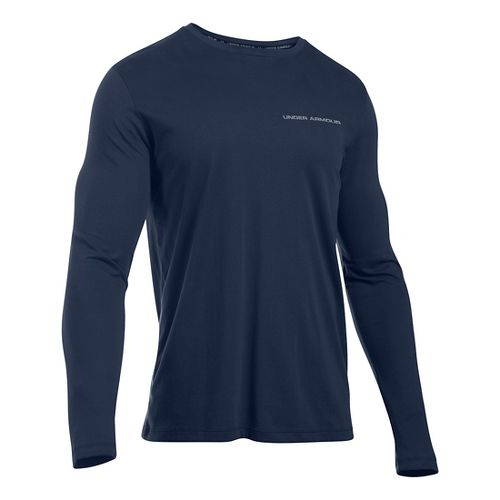 Mens Under Armour Charged Cotton Tee Long Sleeve Technical Tops - Midnight Navy/Steel L