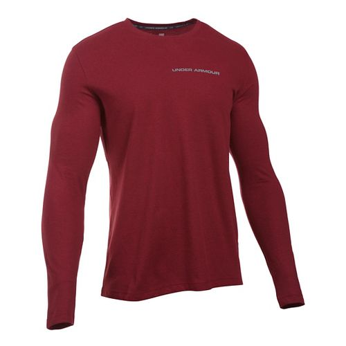 Mens Under Armour Charged Cotton Tee Long Sleeve Technical Tops - Cardinal/Graphite L