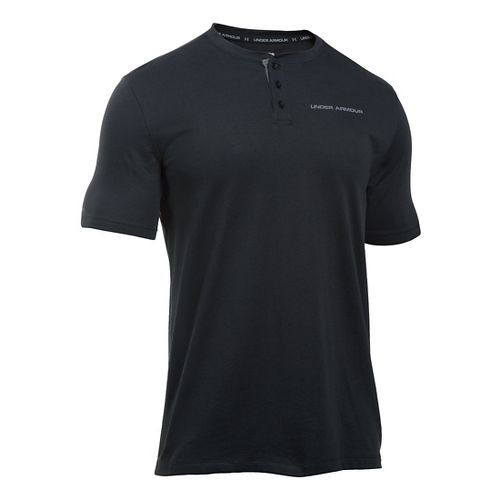 Mens Under Armour Charged Cotton Henley Short Sleeve Technical Tops - Black/Steel M