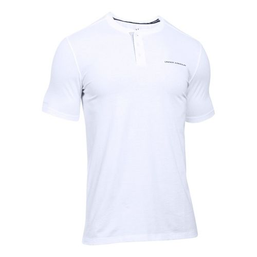 Mens Under Armour Charged Cotton Henley Short Sleeve Technical Tops - White/Graphite L