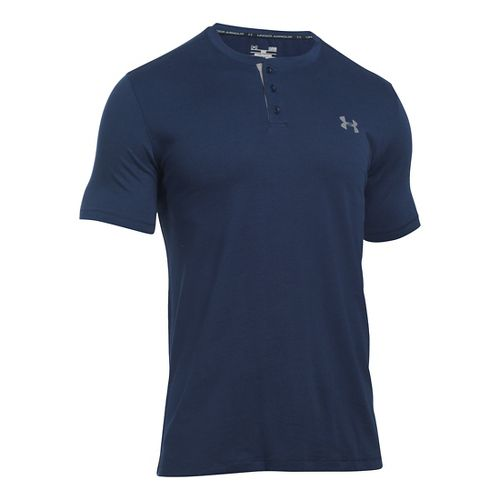 Mens Under Armour Charged Cotton Henley Short Sleeve Technical Tops - Midnight Navy/Steel XXL