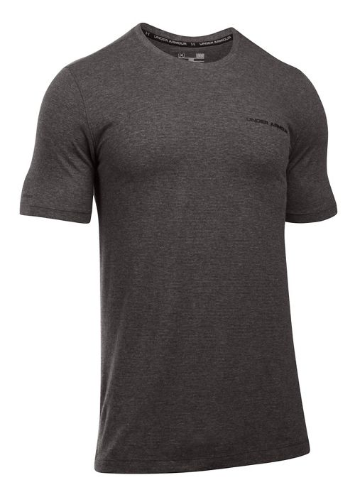 Mens Under Armour Charged Cotton Tee Short Sleeve Technical Tops - Carbon Heather/Black M