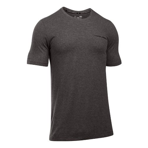 Mens Under Armour Charged Cotton Tee Short Sleeve Technical Tops - Carbon Heather/Black 4XL