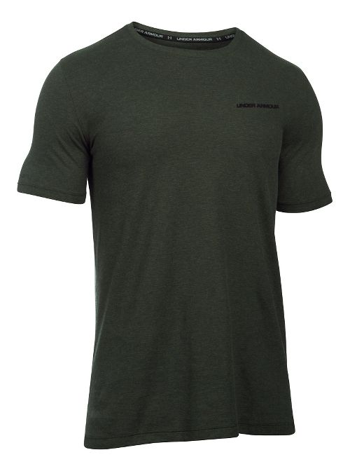 Mens Under Armour Charged Cotton Tee Short Sleeve Technical Tops - Army Green/Black L