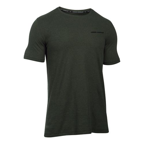 Mens Under Armour Charged Cotton T Short Sleeve Technical Tops - Army Green/Black L