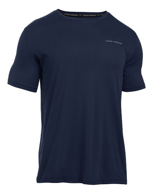 Mens Under Armour Charged Cotton Tee Short Sleeve Technical Tops - Midnight Navy/Steel S
