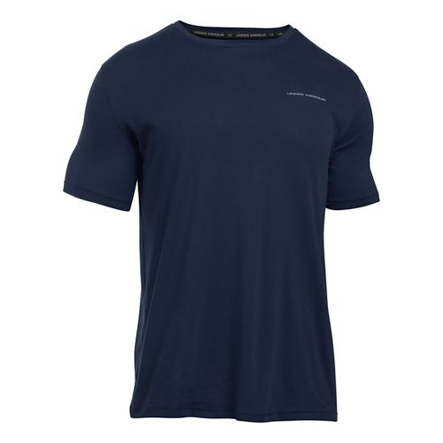 Mens Under Armour Charged Cotton T Short Sleeve Technical Tops - Midnight Navy/Steel L