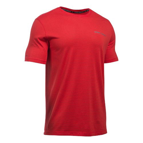Mens Under Armour Charged Cotton Tee Short Sleeve Technical Tops - Red/Graphite S