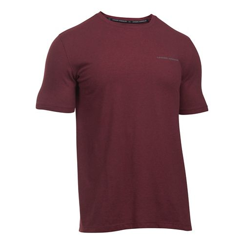 Mens Under Armour Charged Cotton T Short Sleeve Technical Tops - Cardinal/Graphite XXL
