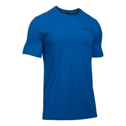 Mens Under Armour Charged Cotton Tee Short Sleeve Technical Tops - Blue Marker/Black XL