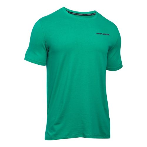Mens Under Armour Charged Cotton Tee Short Sleeve Technical Tops - Geode Green/Grey S