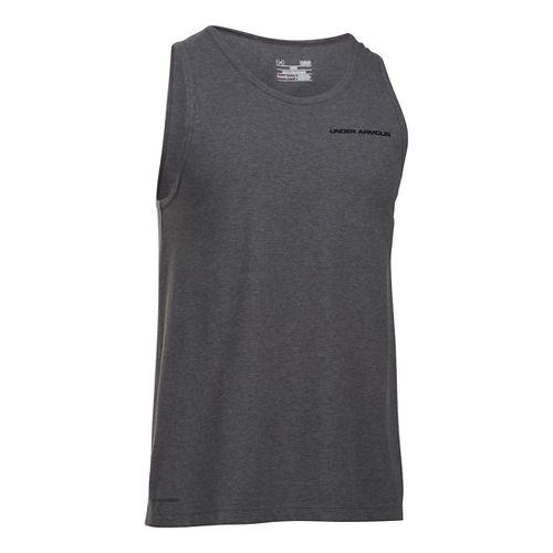 Mens Under Armour Charged Cotton Sleeveless & Tank Technical Tops - Carbon Heather/Black L