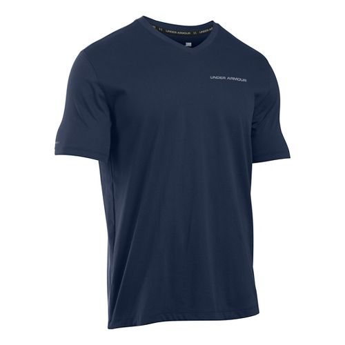 Mens Under Armour Charged Cotton V-Neck T Short Sleeve Technical Tops - Midnight Navy/Steel M ...