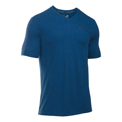Mens Under Armour Charged Cotton V-Neck Tee Short Sleeve Technical Tops - Heron/Midnight Navy ...