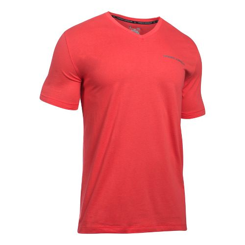 Mens Under Armour Charged Cotton V-Neck Tee Short Sleeve Technical Tops - Pomegranate L